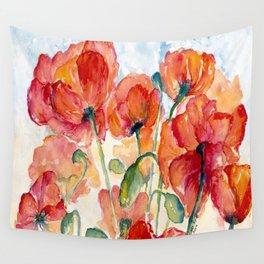 Tangerine Orange Poppy field WaterColor by CheyAnne Sexton Wall Tapestry