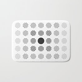 Black and White centered lines Bath Mat