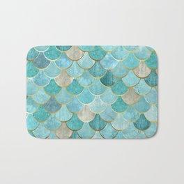 Moroccan Mermaid Fish Scale Pattern, Aqua,Teal Bath Mat