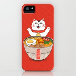 Liter of Ramen. Japanese soup and Manekineko cat. iPhone Case
