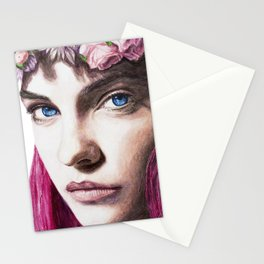 Barbara Palvin Watercolor with Pink Hair Stationery Cards