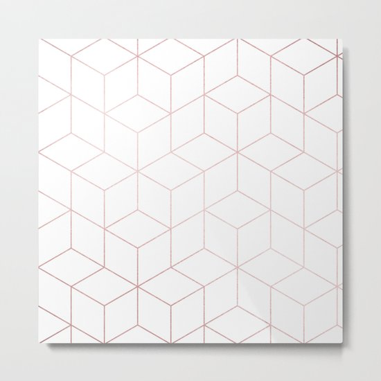 Simply Cubic in Rose Gold Sunset Metal Print