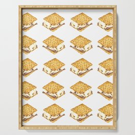 Delicious Watercolor Illustration S'more Pattern Serving Tray