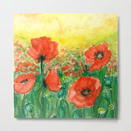 Poppies at dusk Metal Print