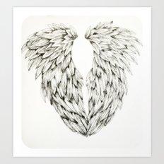 Inked Angel Wings Art Print