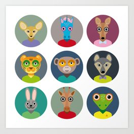 Set of animals faces circle icons set in Trendy Flat Style. zoo Art Print