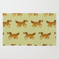 golden retriever Area & Throw Rugs featuring Golden Retriever - Pattern by Reimena Ashel Yee
