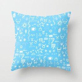 Celestial Symbols Blue Sky Throw Pillow