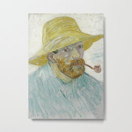 Self-Portrait with Pipe and Straw Hat Metal Print