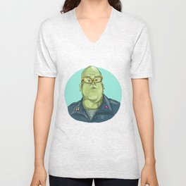 Green Man Alien General Circle Drawing Unisex V-Neck