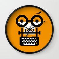 typewriter Wall Clocks featuring typewriter by oguzhan
