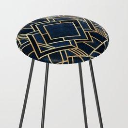Art Deco Fancy Blue Counter Stool
