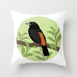 Flame-rumped Tanager Throw Pillow
