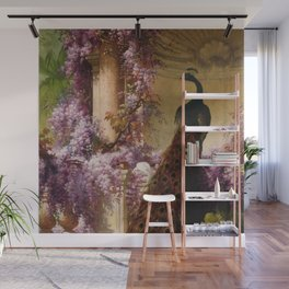 Peacock, White Doves, Yellow Iris & Purple Flowering Wisteria in a Garden landscape floral painting Wall Mural