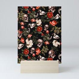 Floral and Skull Dark Pattern Mini Art Print