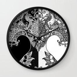 Unity of Halves - Life Tree - Rebirth - Black White Wall Clock