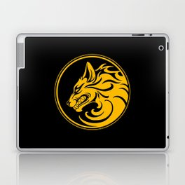 Yellow and Black Growling Wolf Disc Laptop & iPad Skin