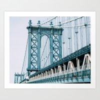 Manhattan Bridge - Winter Art Print