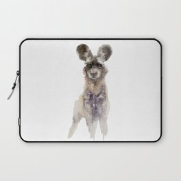 Watercolor African Wild Dog Painting Laptop Sleeve