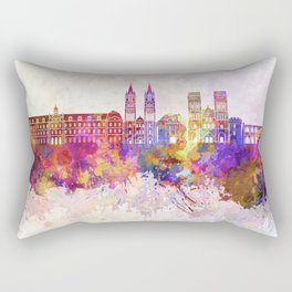 Caen skyline in watercolor background Rectangular Pillow