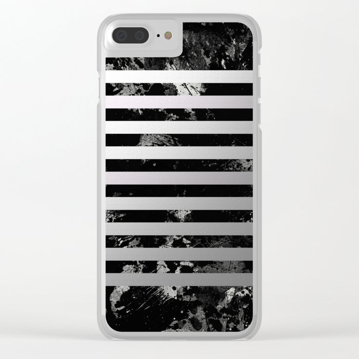 Industrial Action - Metallic, black and white, abstract, geometric, textured painting Clear iPhone Case