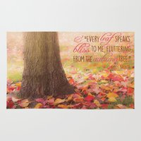 poem Area & Throw Rugs featuring Autumn Leaves Poem by Graphic Tabby