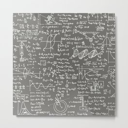 Physics Equations // Slate Grey Metal Print