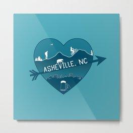 Asheville, NC - AVL 8 Blue on Blue Metal Print