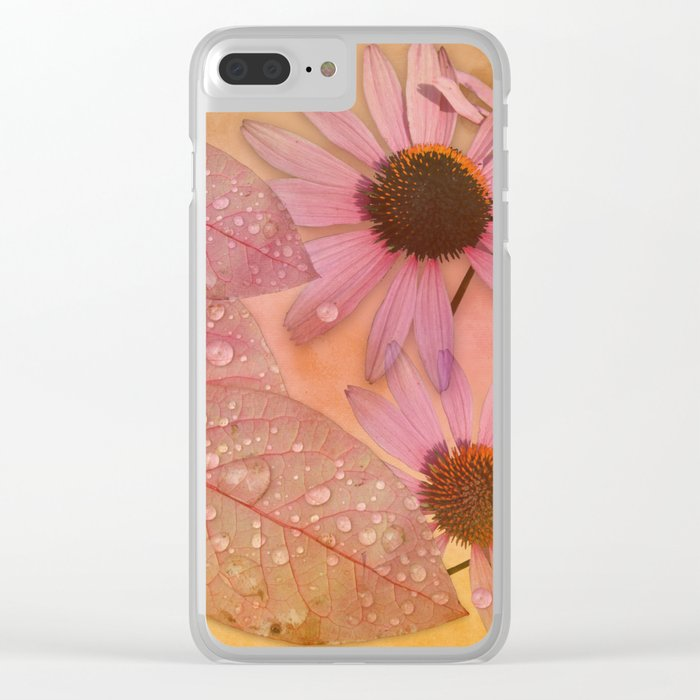 Raindrops on leaves and flowers Clear iPhone Case