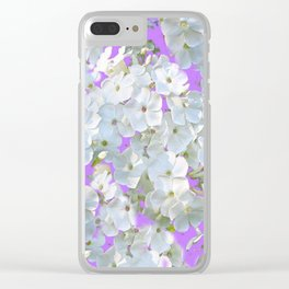 DELICATE LILAC & WHITE LACE FLORAL GARDEN PATTERNS Clear iPhone Case