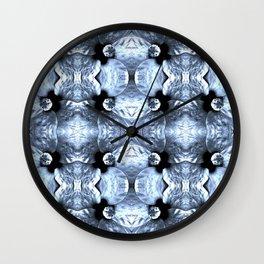 Shiny Blue Flower Design, Pattern Wall Clock