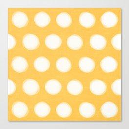 painted polka dots- yellow  Canvas Print