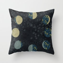 Lunar Cycle on Starlight Throw Pillow