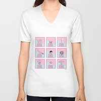 talking heads V-neck T-shirts featuring Heads by Bruno Gabrielli