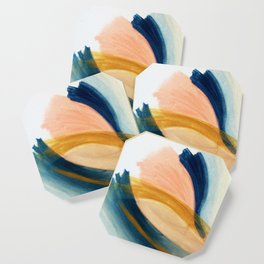 Slow as the Mississippi - Acrylic abstract with pink, blue, and brown Coaster