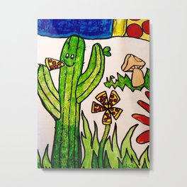 Cactus in a pizza paradise Metal Print