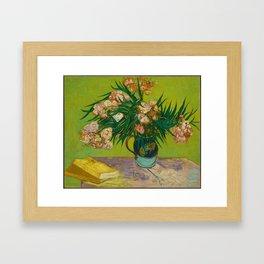 Copy of Vincent van Gogh Roses Floral Green Pink Framed Art Print