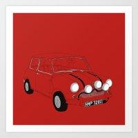 The Italian Job Red Mini Cooper Art Print
