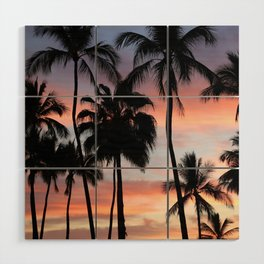 Tropical Palm Trees Sunset in Mexico Wood Wall Art