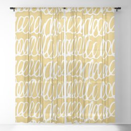 Doodles Waves Yellow Sheer Curtain