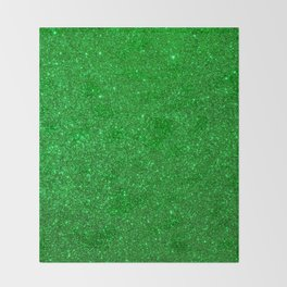 Emerald Green Shiny Metallic Glitter Throw Blanket