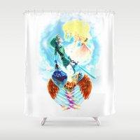 zelda Shower Curtains featuring Skyward - Zelda by mmishee