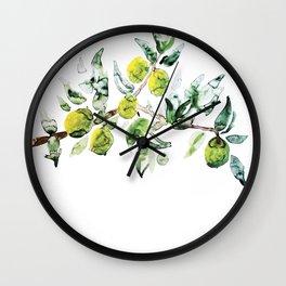 Lime Tree Branch Pattern Watercolor Wall Clock