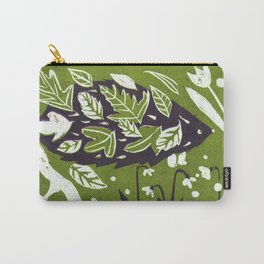 Hedgehog in Autumn Woods - Moss Green Palette Carry-All Pouch