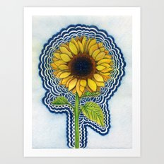 Sunflower Drawing Meditation - with background Art Print