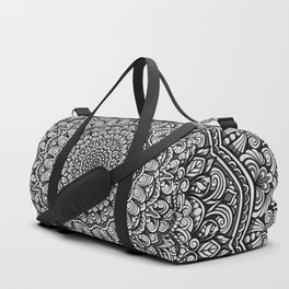 Gray colors mandala Sophisticated black and white ornament Duffle Bag