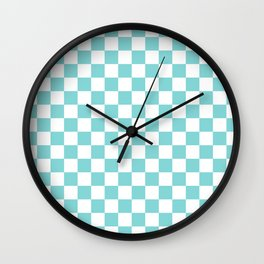 Gingham Duck Egg Blue Checked Pattern Wall Clock