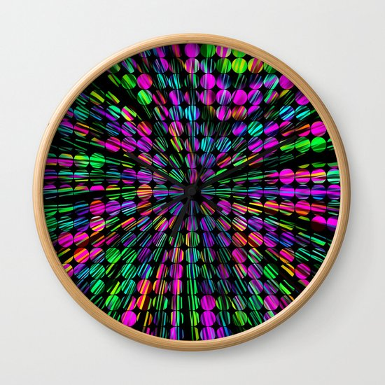 geometric circle abstract pattern in pink blue green black by timla