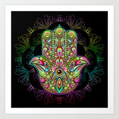 Hamsa Hand Amulet Psychedelic Art Print