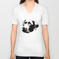 lab V-neck T-shirts featuring Chocolate Lab by MIX INX